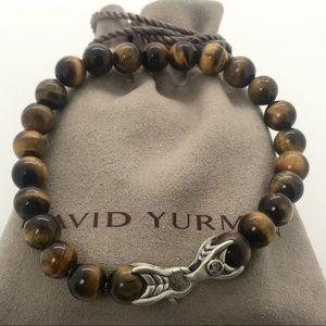 "David Yurman 8.5"" 8mm Bead Bracelet Tiger Eye"